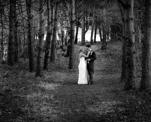 bridge and groom in trees