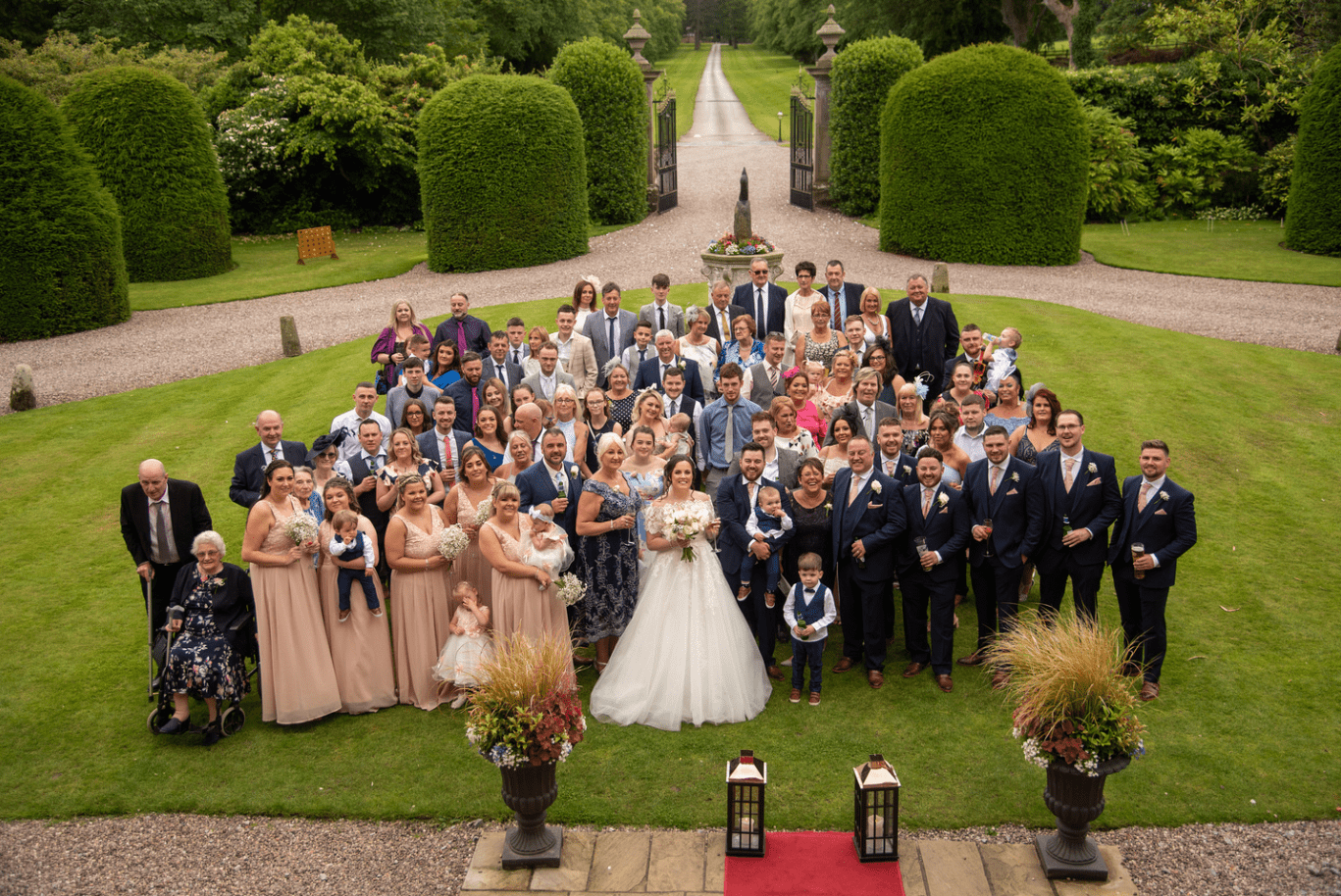Group photo of wedding at Soughton Hall