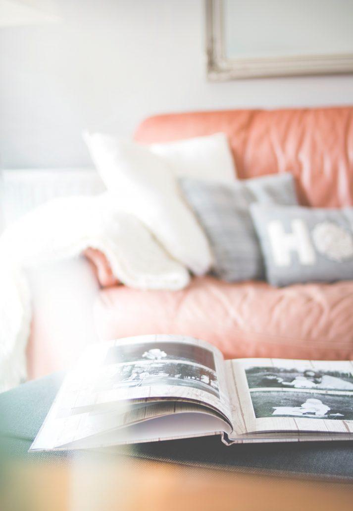 Wedding album lying open on the bed