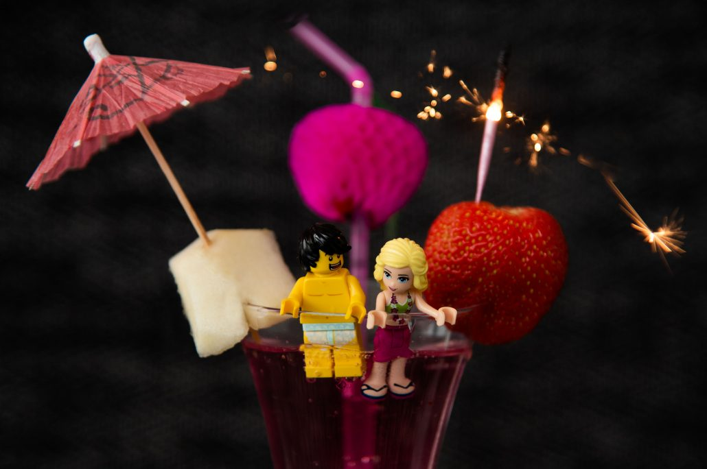 lego bride and groom in a cocktail