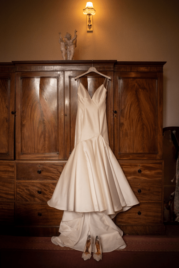 Wedding dress from the Silk Loft hanging in the Tower