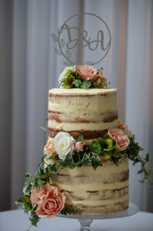 A naked cake with real flowers