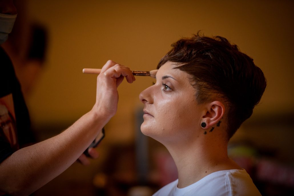 Holly the bride having her makeup done