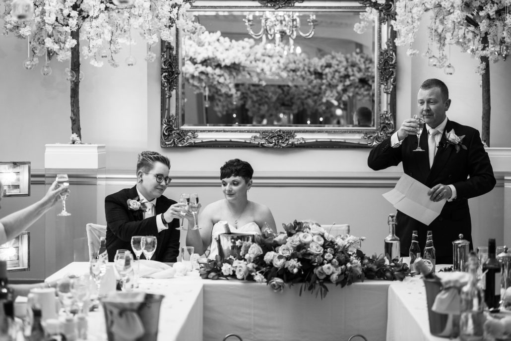 Wedding breakfast at Nunsmere Hall with speeches
