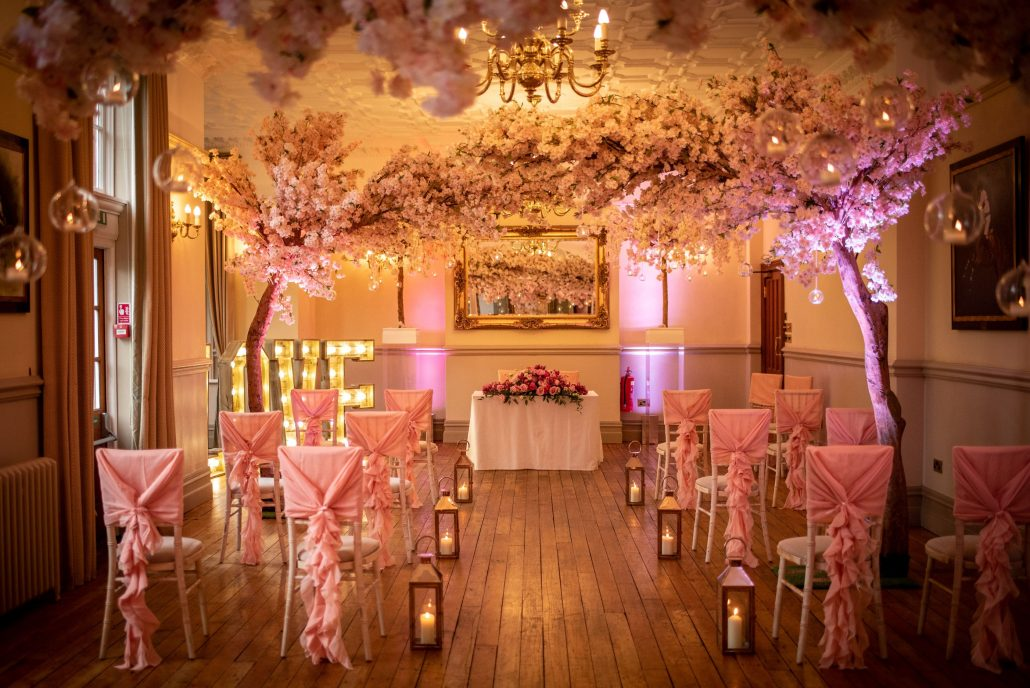 Nunsmere Hall ceremony room for a Cheshire wedding